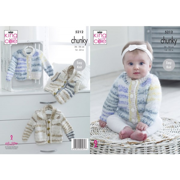 King Cole 5212 Knitting Pattern Cardigan and Waistcoat in Comfort Cheeky Chunky