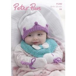 PP1290 Baby's Pixie Hat, Mittens, Socks & Bib in Peter Pan Pixie DK