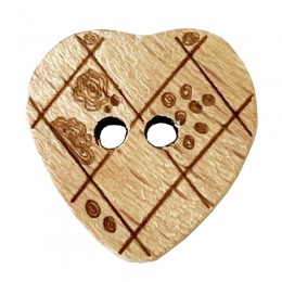 Crosshatch and Flower Wooden Heart Buttons