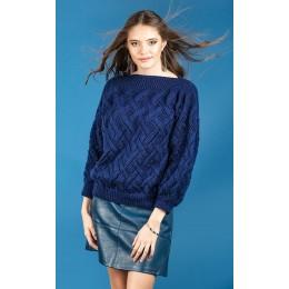 R3055 Women's Slash Neck Sweater in Robin Sparkle DK