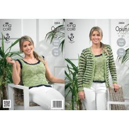 KC3884 Ladies Cardigan & Vest in King Cole Opium Chunky