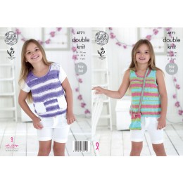 KC4771 Girl's Top and Bag in King Cole Cottonsoft Crush DK