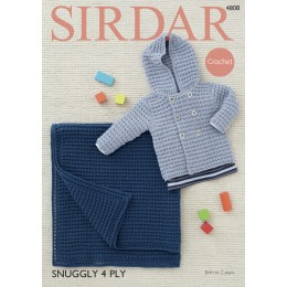 S4808 Crochet Blanket and Jacket for Babies in Sirdar Snuggly 4ply