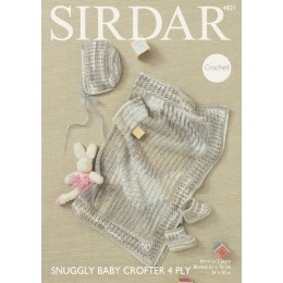 S4821 Blanket, Hat and Bootees for Sirdar Snuggly Baby Crofter 4ply