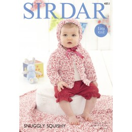 S4851 Cardigan,Bonnet and Blanket for Babies in Sirdar Snuggly Squishy
