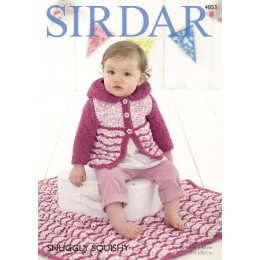 S4853 Cardigan and Blanket for Babies in Sirdar Snuggly Squishy and Snuggly Snowflake Chunky