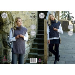 KC4862 Ladies' Tabards knitted in King Cole Indulge Chunky