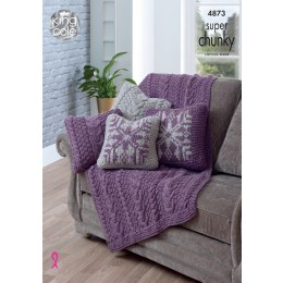 KC4873 Throw and Reversable Cushion Covers knitted in King Cole Big Value Super Chunky