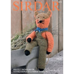 S4874 Fox in Sirdar Snuggly Snowflake, Harrap Tweed & Hayfield Bonus DK