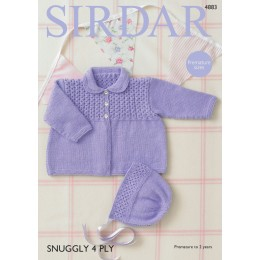 S4883 Baby Girl's Coat & Bonnet in Sirdar Snuggly 4Ply