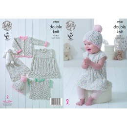 KC4900 Cardigan, Dress, Bloomers, Top and Hat for Babies in King Cole Cherish Dash DK