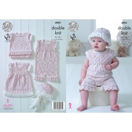 KC4901 Dress, Onesie, Top and Hat for Babies in King Cole Cherish Dash DK