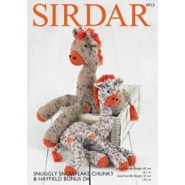 S4913 Giraffe Toys in Sirdar Snuggly Snowflake Chunky & Hayfield Bonus DK