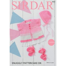 S4920 Crochet Cardigan, Bonnet, Mittens & Bootees in Sirdar Snuggly Pattercake DK