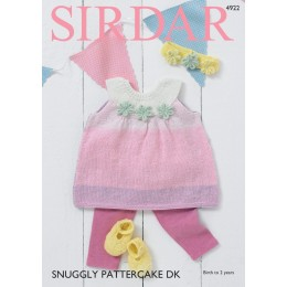 S4922 Pinafore Dress, Shoes & Headband in Sirdar Snuggly Pattercake DK