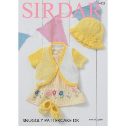 S4923 Baby Girl's Bolero, Sunhat & Shoes in Sirdar Snuggly Pattercake DK