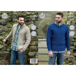 KC4925 Men's Sweater and Jacket knitted in King Cole Majestic DK