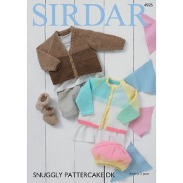 S4925 Baby Girl's & Boy's Cardigans, Bootees & Beret in Sirdar Snuggly Pattercake DK