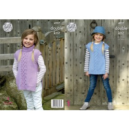 KC4927 Girls' Tabards knitted in King Cole Majestic DK