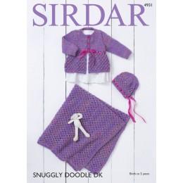S4931 Coat, Bonnet & Blanket in Sirdar Snuggly Doodle DK