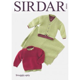 S4940 Baby's Sweater, Cardigan & Blanket in Sirdar Snuggly 4Ply