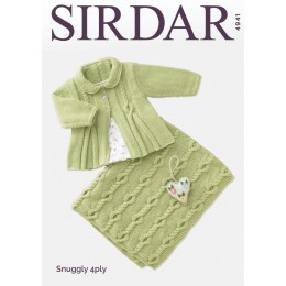 S4941 Baby Girl's Matinee Coat & Blanket in Sirdar Snuggly 4Ply