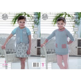 KC4951 Tunic and Cardigan for Children in King Cole Baby Glitz DK
