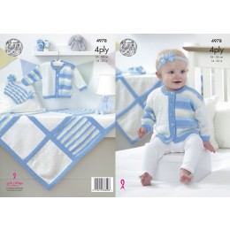 KC4978 Jacket, Hat, Bootees and Blanket for Babies in King Cole Big Value Baby 4ply, Print and Spot