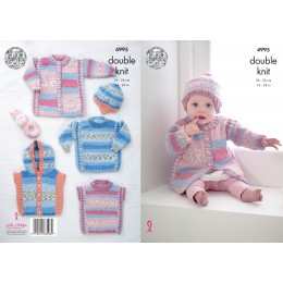 KC4995 Coat, Hat, Sweater, Tabard and Gilet for Babies in Various King Cole DK