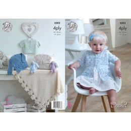 KC5002 Crochet Cardigans and Blanket for Babies in King Cole Giza Cotton 4ply