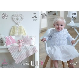 KC5003 Crochet Tops, Blanket, and Cardigans for Babies in King Cole Giza Cotton Sorbet 4ply