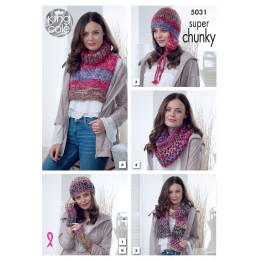 KC5031 Hats, Scarves, Wrist Warmers and Polo Insert for Women in King Cole Big Value Super Chunky Tints