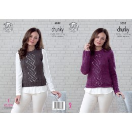 KC5032 Sweater and Slipover for Women in King Cole Magnum Chunky