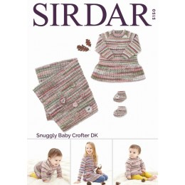 S5150 Dress, Bootees & Blanket in Sirdar Snuggly Baby Crofter DK