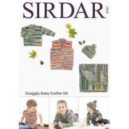 S5151 Sweater, Tank, Hat & Blanket in Sirdar Snuggly Baby Crofter DK