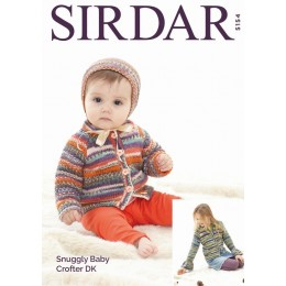 S5154 Cardigans & Bonnet in Sirdar Snuggly Baby Crofter DK