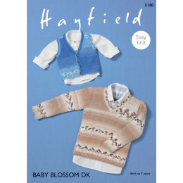 S5180 Baby's / Boy's V Neck Vest & Sweater in Hayfield Baby Blossom DK
