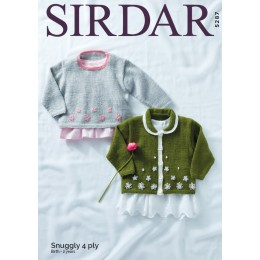 S5287 Children's Collard Cardigan and Round Neck Sweater in Sirdar Snuggly 4ply