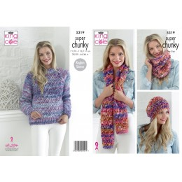 KC5319 Ladies Sweater and Accessories in King Cole Big Value Super Chunky Tints