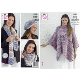 KC5320 Ladies Tabard, Hat, Scarf and Cowl in King Cole Big Value Super Chunky Tints