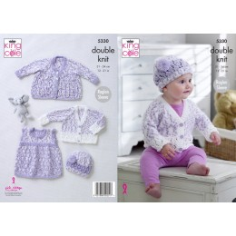 KC5330 Babies Coat, Cardigan, Pinafore Dress and Hat in King Cole DK