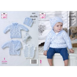 KC5331 Babies Sweaters, Gilet and Hat in King Cole DK