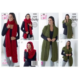 KC5338 Ladies Scarves in King Cole Big Value Super Chunky