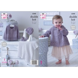 KC5340 Babies Matinee Jacket, Hat, Shoes and Blanket in King Cole Finesse Cotton Silk DK
