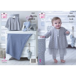KC5341 Babies Matinee Jacket, Bootees, Hat and Blanket in King Cole Finesse Cotton Silk DK