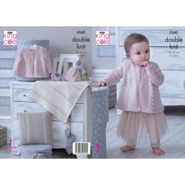 KC5342 Babies Matinee Jacket, Hat, Cushion and Blanket in King Cole Finesse Cotton Silk DK