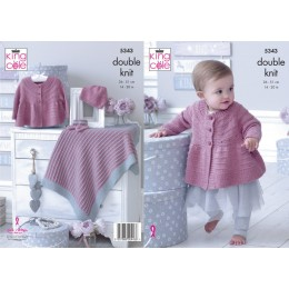 KC5343 Babies Matinee Jacket, Hat, Bootees and Blanket in King Cole Finesse Cotton Silk DK