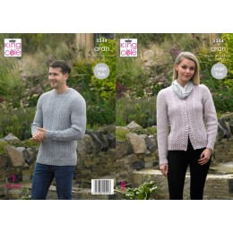KC5344 Ladies & Men's Sweater and Cardigan in King Cole Fashion Aran