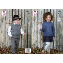 KC5346 Children's Sweater and Slipover in King Cole Fashion Aran