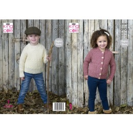 KC5347 Children's Sweater and Cardigan in King Cole Fashion Aran